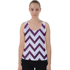 Chevron9 White Marble & Purple Leather (r) Velvet Tank Top