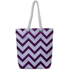 Chevron9 White Marble & Purple Leather (r) Full Print Rope Handle Tote (small) by trendistuff