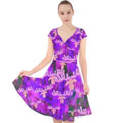 Watercolour Paint Dripping Ink Cap Sleeve Front Wrap Midi Dress