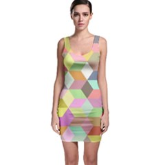 Mosaic Background Cube Pattern Bodycon Dress by Sapixe