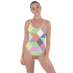 Mosaic Background Cube Pattern Bring Sexy Back Swimsuit
