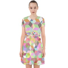 Mosaic Background Cube Pattern Adorable In Chiffon Dress by Sapixe