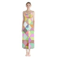 Mosaic Background Cube Pattern Button Up Chiffon Maxi Dress
