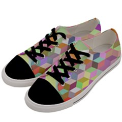 Mosaic Background Cube Pattern Men s Low Top Canvas Sneakers by Sapixe