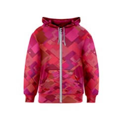 Red Background Pattern Square Kids  Zipper Hoodie