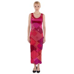 Red Background Pattern Square Fitted Maxi Dress