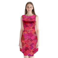 Red Background Pattern Square Sleeveless Chiffon Dress