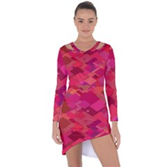Red Background Pattern Square Asymmetric Cut Out Shift Dress by Sapixe