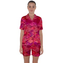Red Background Pattern Square Satin Short Sleeve Pyjamas Set
