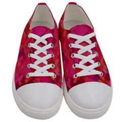 Red Background Pattern Square Women s Low Top Canvas Sneakers