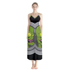 Zombie Pictured Illustration Button Up Chiffon Maxi Dress