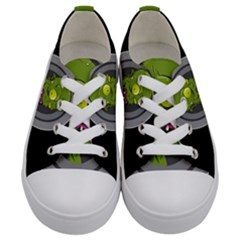 Zombie Pictured Illustration Kids  Low Top Canvas Sneakers