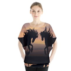 Horses Sunset Photoshop Graphics Blouse by Sapixe