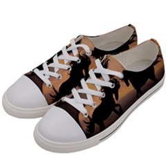 Horses Sunset Photoshop Graphics Women s Low Top Canvas Sneakers by Sapixe