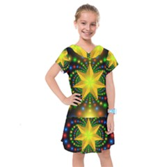 Christmas Star Fractal Symmetry Kids  Drop Waist Dress
