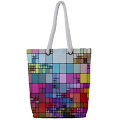 Color Abstract Visualization Full Print Rope Handle Tote (small)
