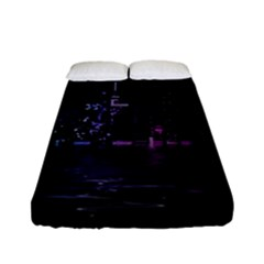 City Night Skyscrapers Fitted Sheet (full/ Double Size)