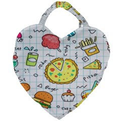 Colorful Doodle Soda Cartoon Set Giant Heart Shaped Tote by Sapixe