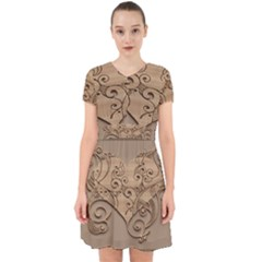 Wood Sculpt Carved Background Adorable In Chiffon Dress
