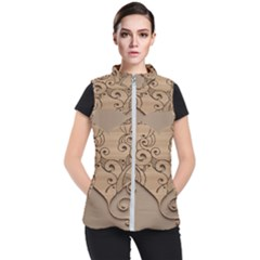 Wood Sculpt Carved Background Women s Puffer Vest