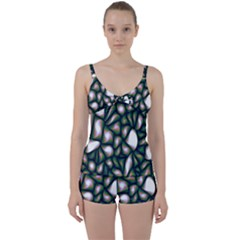 Fuzzy Abstract Art Urban Fragments Tie Front Two Piece Tankini