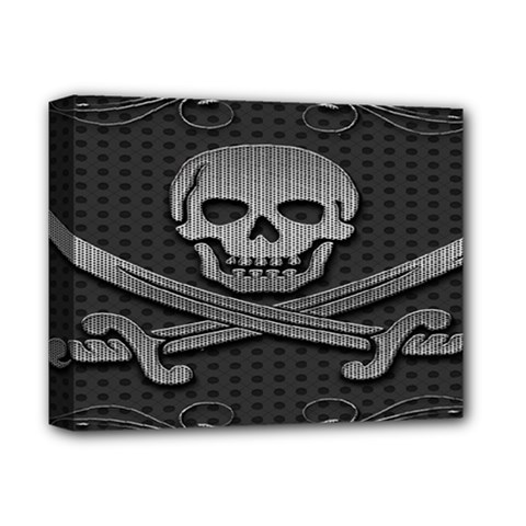 Skull Metal Background Carved Deluxe Canvas 14  X 11  by Sapixe