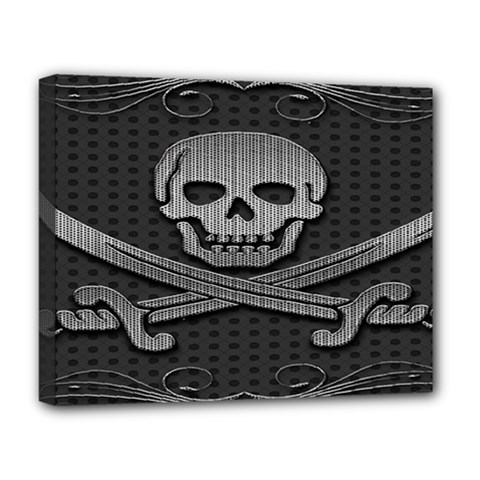 Skull Metal Background Carved Deluxe Canvas 20  X 16