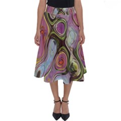 Retro Background Colorful Hippie Perfect Length Midi Skirt by Sapixe