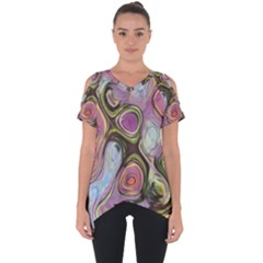 Retro Background Colorful Hippie Cut Out Side Drop Tee by Sapixe