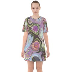 Retro Background Colorful Hippie Sixties Short Sleeve Mini Dress