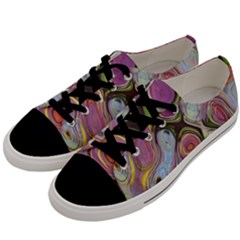 Retro Background Colorful Hippie Men s Low Top Canvas Sneakers by Sapixe