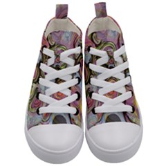 Retro Background Colorful Hippie Kid s Mid Top Canvas Sneakers