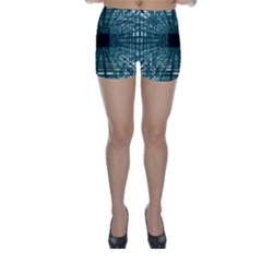 Abstract Perspective Background Skinny Shorts