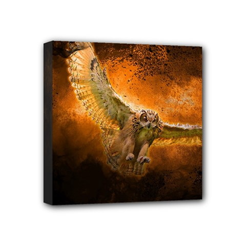 Art Creative Graphic Arts Owl Mini Canvas 4  X 4  by Sapixe