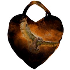 Art Creative Graphic Arts Owl Giant Heart Shaped Tote by Sapixe