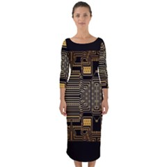 Board Digitization Circuits Quarter Sleeve Midi Bodycon Dress by Sapixe
