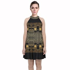 Board Digitization Circuits Velvet Halter Neckline Dress