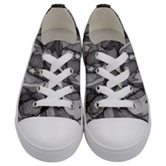 Abstract Black And White Background Kids  Low Top Canvas Sneakers