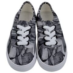 Abstract Black And White Background Kids  Classic Low Top Sneakers