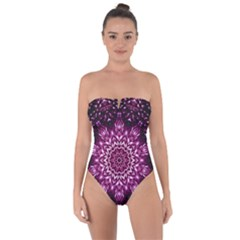 Background Abstract Texture Pattern Tie Back One Piece Swimsuit