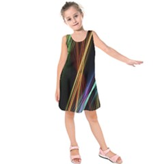 Lines Rays Background Light Kids  Sleeveless Dress