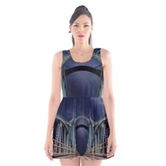 Bridge Mars Space Planet Scoop Neck Skater Dress by Sapixe