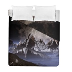 Mountains Moon Earth Space Duvet Cover Double Side (full/ Double Size)