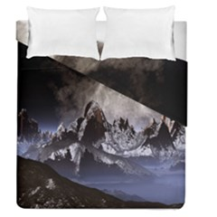 Mountains Moon Earth Space Duvet Cover Double Side (queen Size)