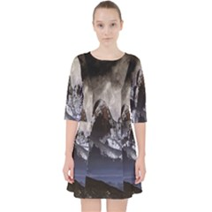 Mountains Moon Earth Space Pocket Dress