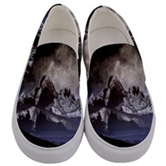 Mountains Moon Earth Space Men s Canvas Slip Ons