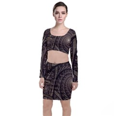 Abstract Pattern Graphics Long Sleeve Crop Top & Bodycon Skirt Set