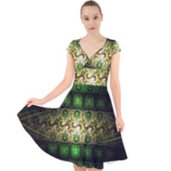 Fractal Art Digital Art Cap Sleeve Front Wrap Midi Dress