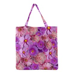 Flowers Blossom Bloom Nature Color Grocery Tote Bag by Sapixe