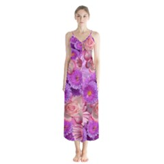 Flowers Blossom Bloom Nature Color Button Up Chiffon Maxi Dress